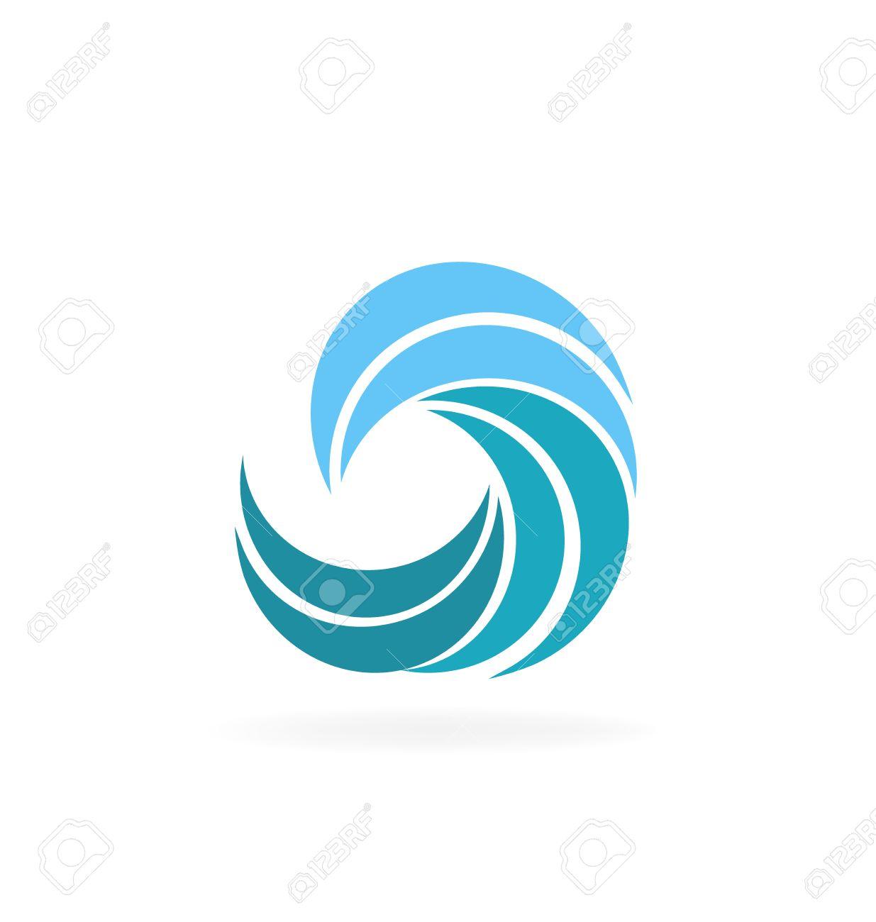 Blue Beach Waves Icon Vector Graphic Design Stock