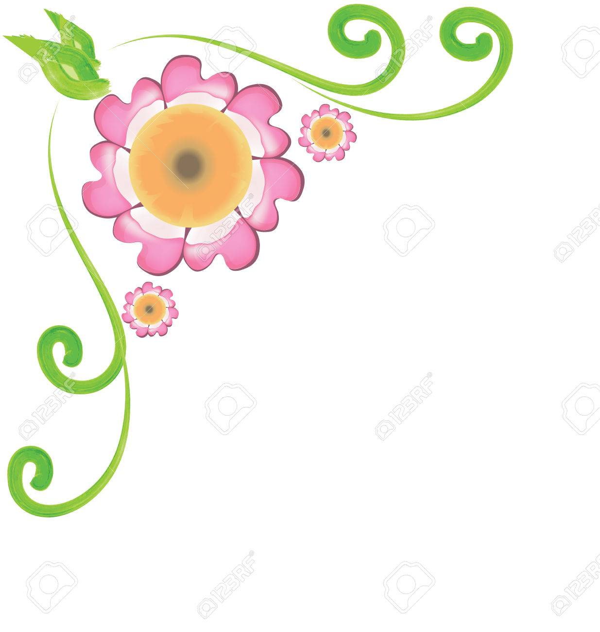 Flowers Corner Frame Design Royalty Free Cliparts, Vectors, And ...