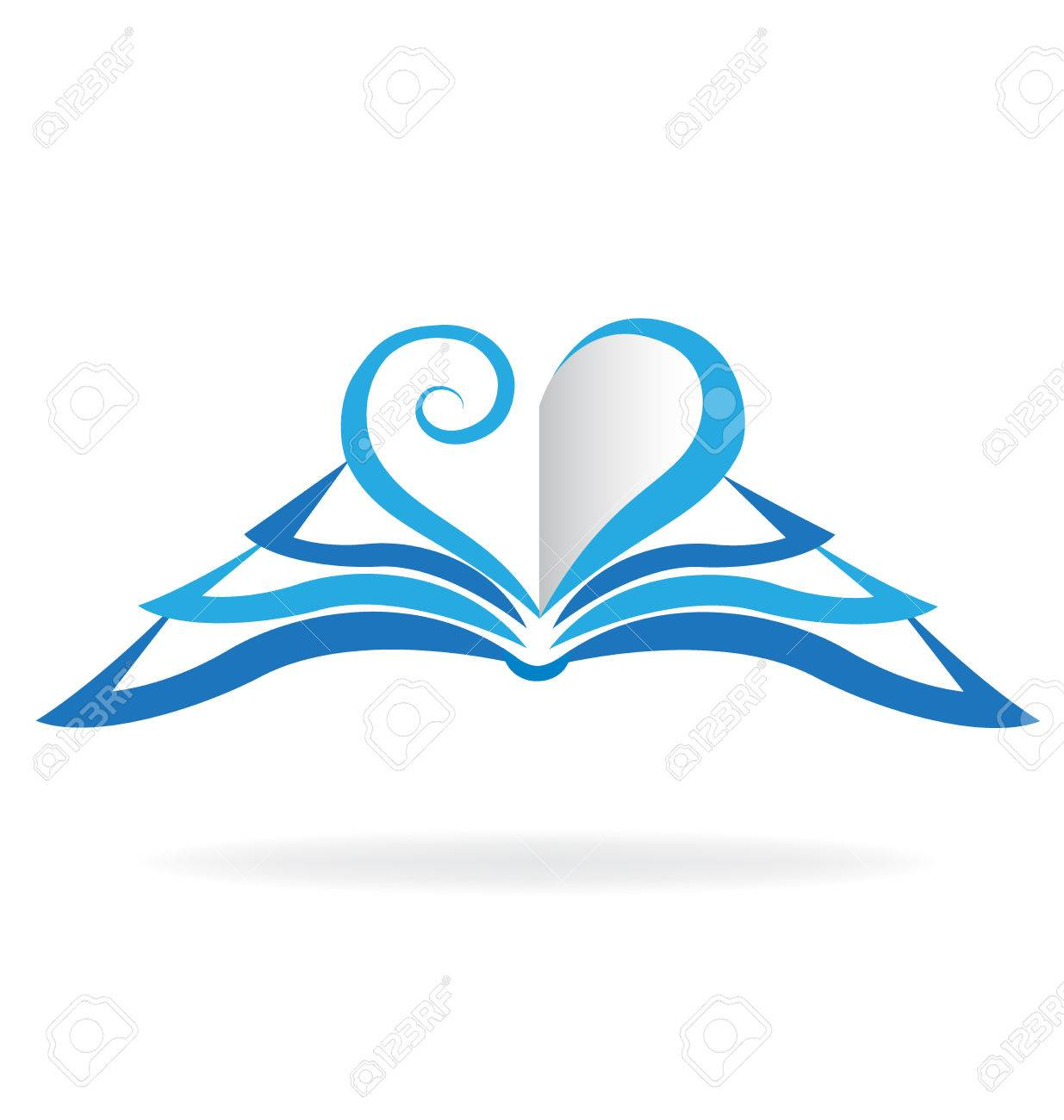 Book blue heart love shape icon. Education concept template - 63241166