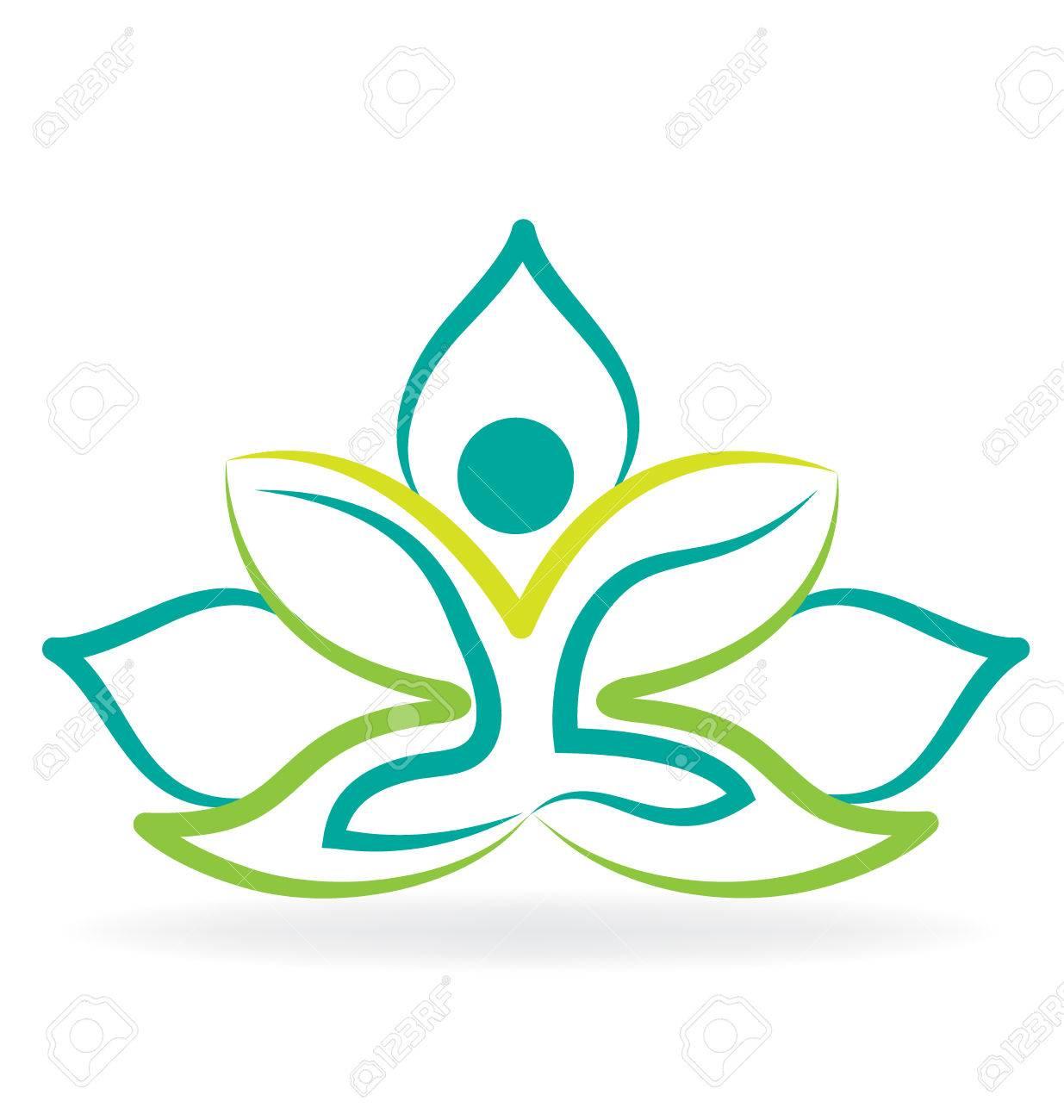 Yoga man lotus silhouette graphic vector image design - 65295733