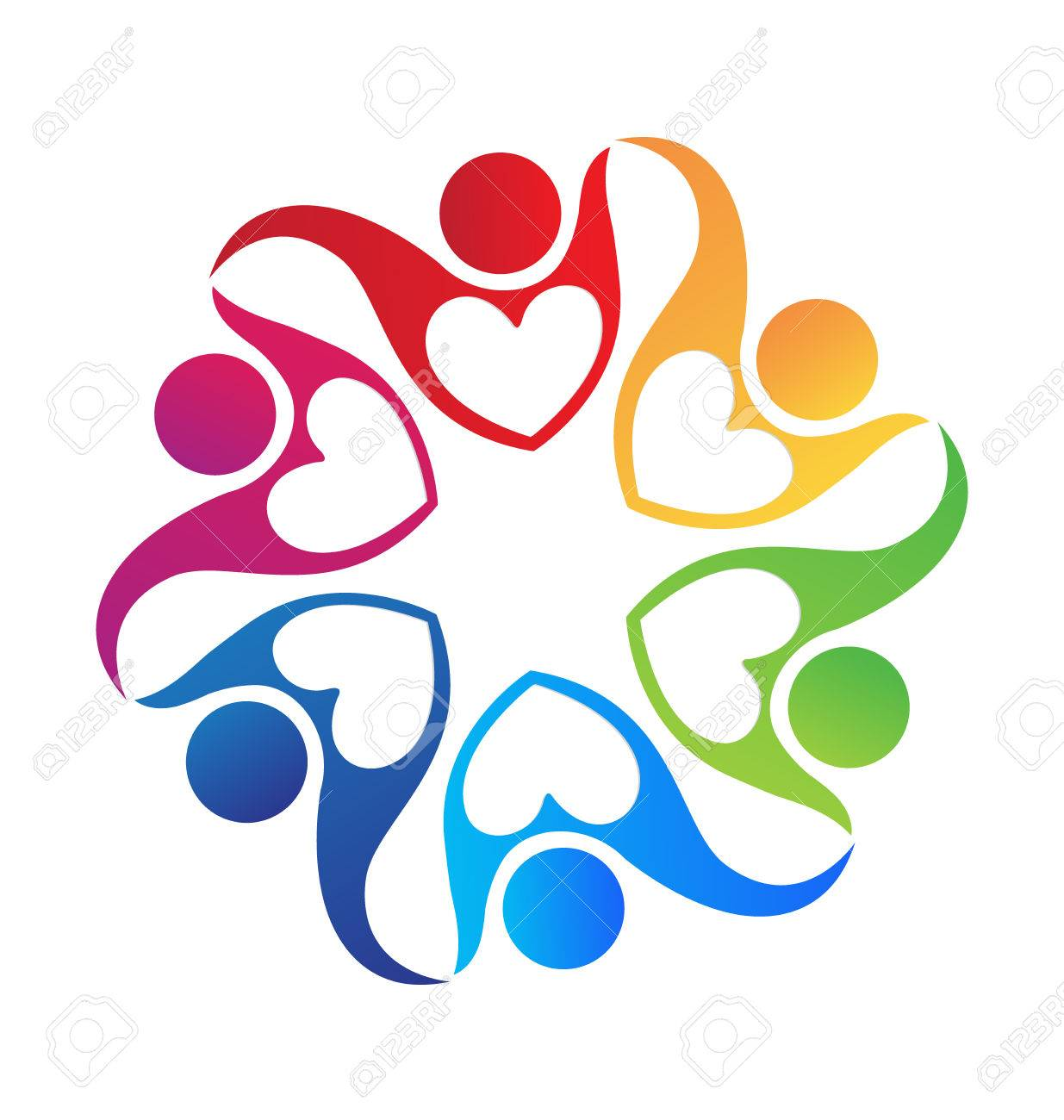 people holding hands love shape colorful icon logo royalty free rh 123rf com