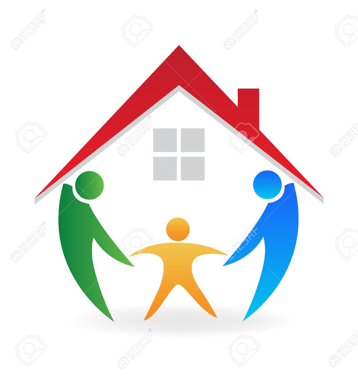 family home happy people with a new house icon vector identity rh 123rf com Our New Home new home clipart