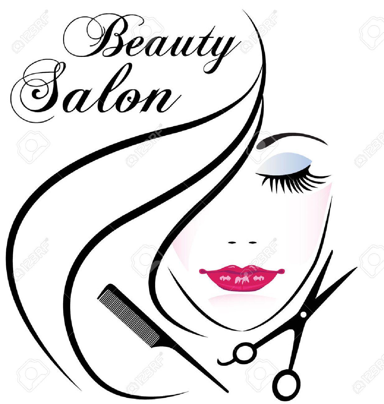 Beauty salon pretty woman hair face comb and scissors logo vector design - 68645764