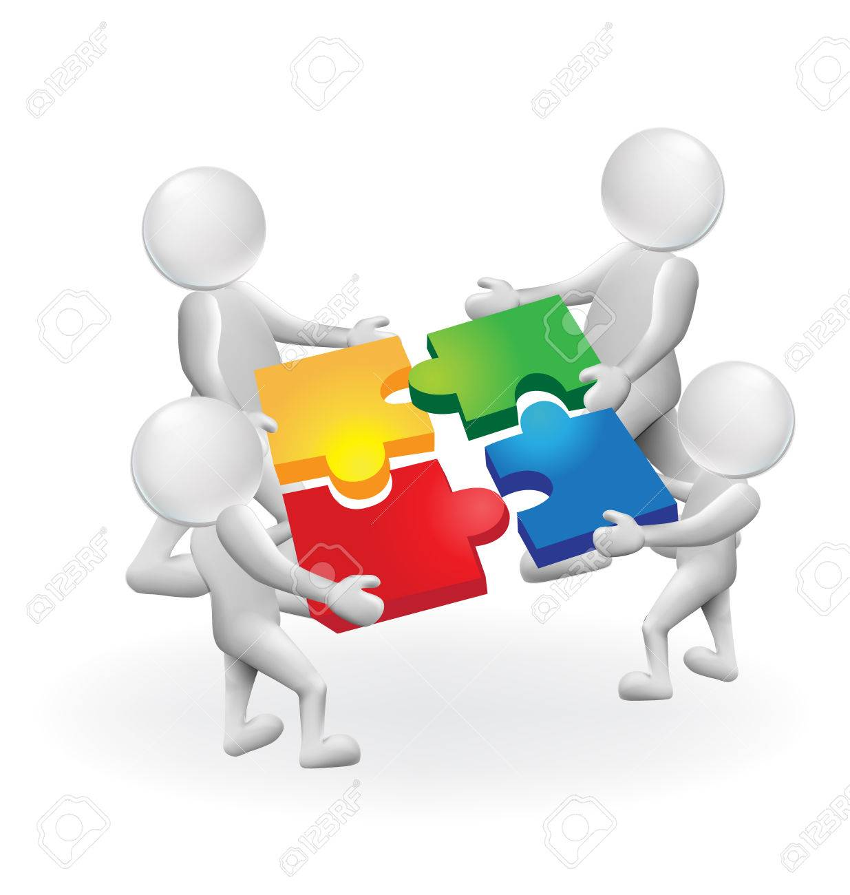 3d men white people work together,puzzle solution concept vector logo - 69727592