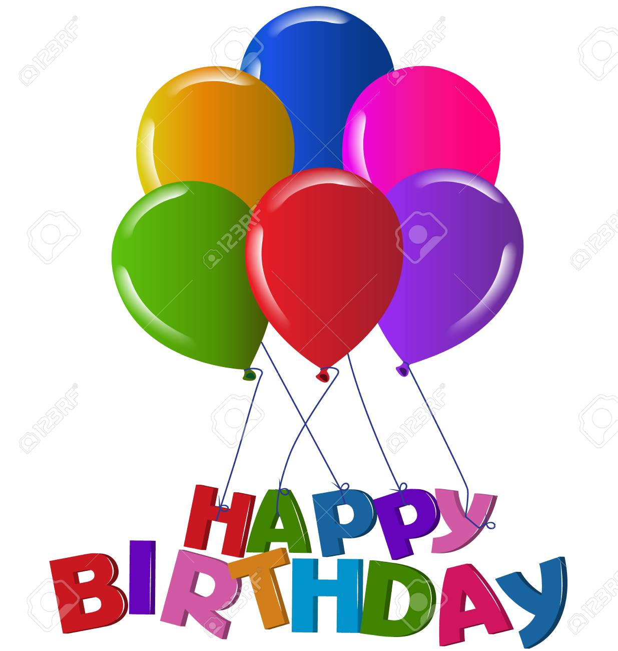 Happy birthday 3D words with balloons logo vector image Stock Vector - 70758154