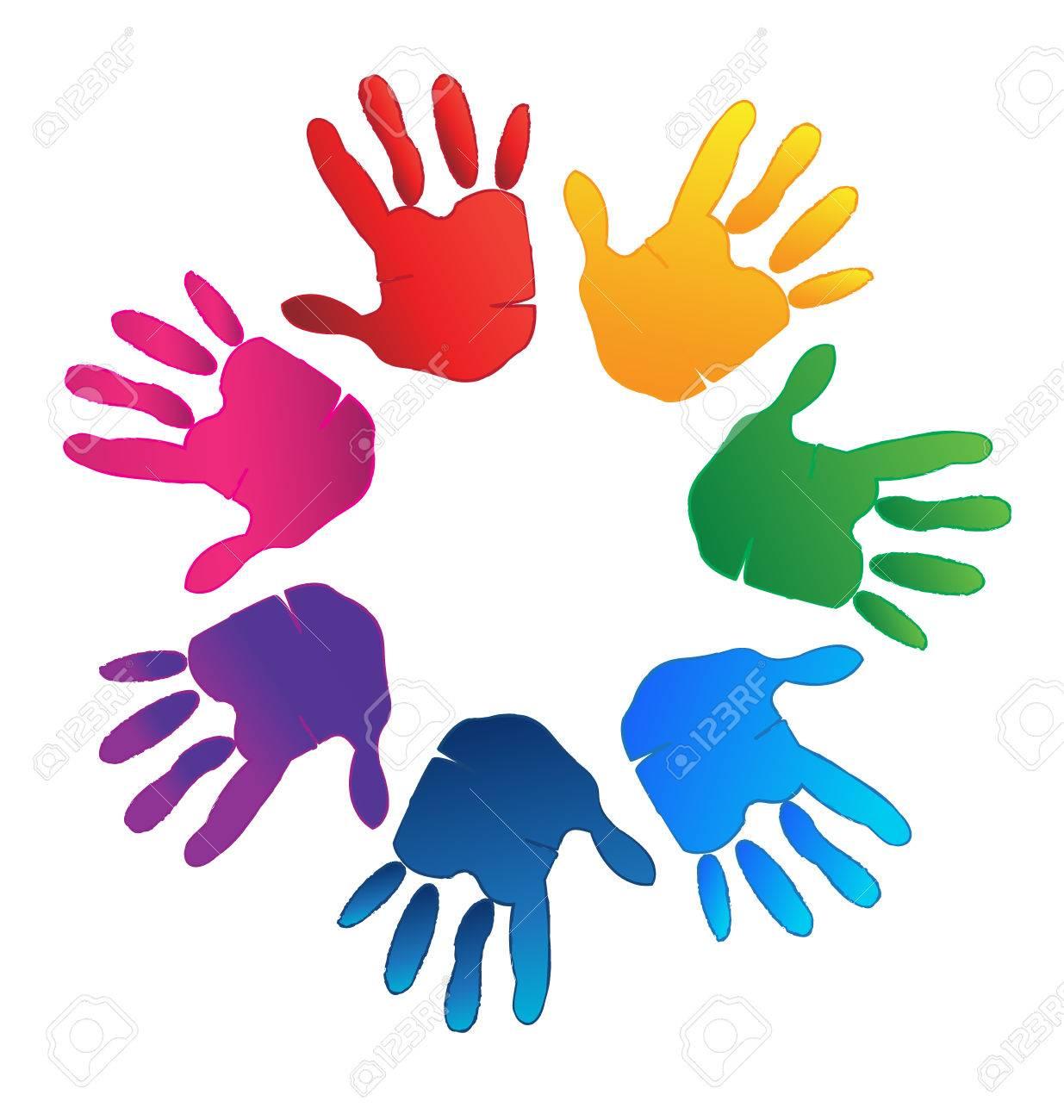 Manos Coloridas Que Representan Una Familia Feliz El Amor Y El