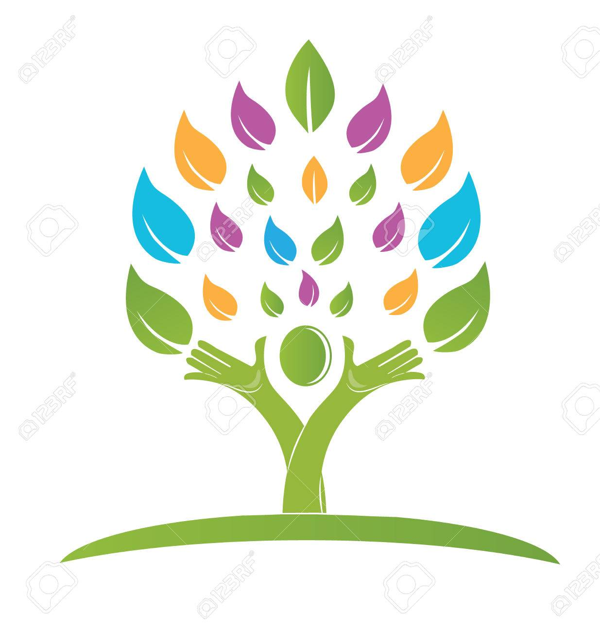 Tree With Hands Colorful Logo Vector Royalty Free Cliparts, Vectors ...
