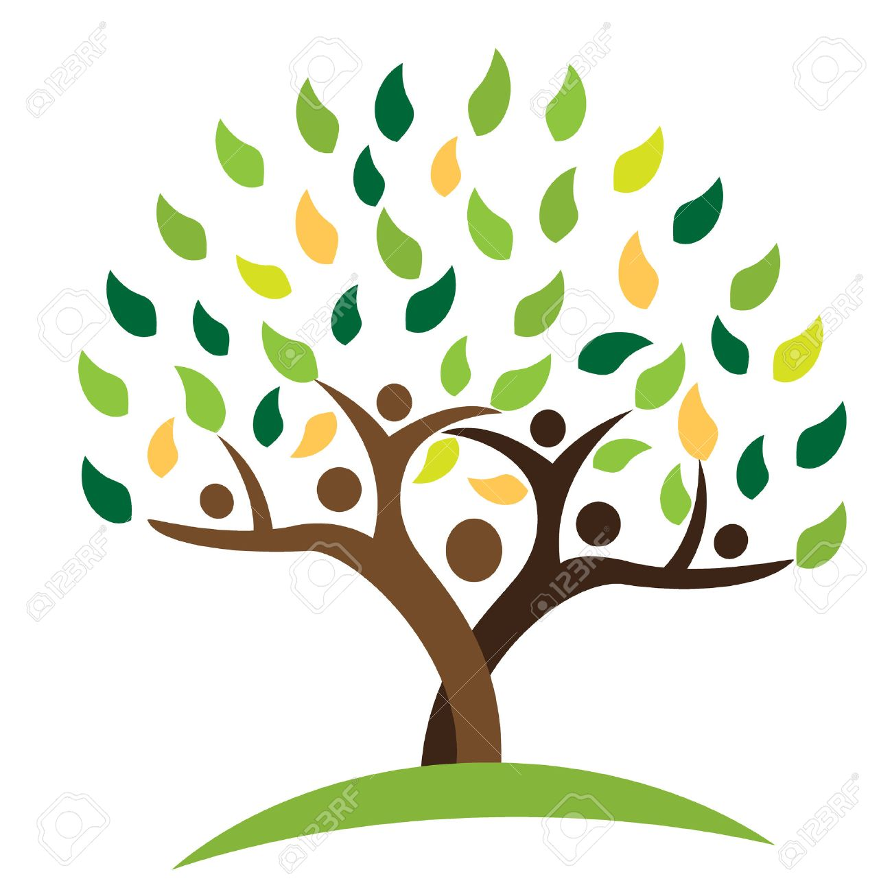 Tree family people green leafs . Ecology logo concept icon vector design - 74798886