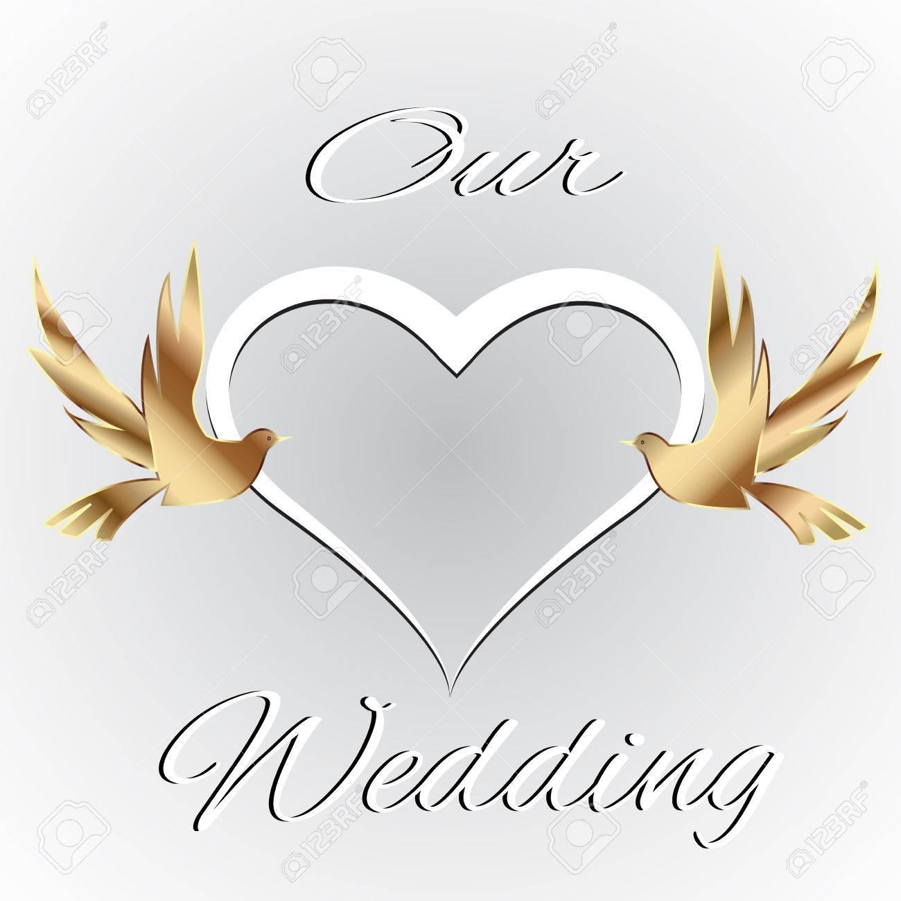 Hochzeit Karte Mit Herz Liebe Und Paar Vögeln Karte Einladung  Vektor Symbol Logo