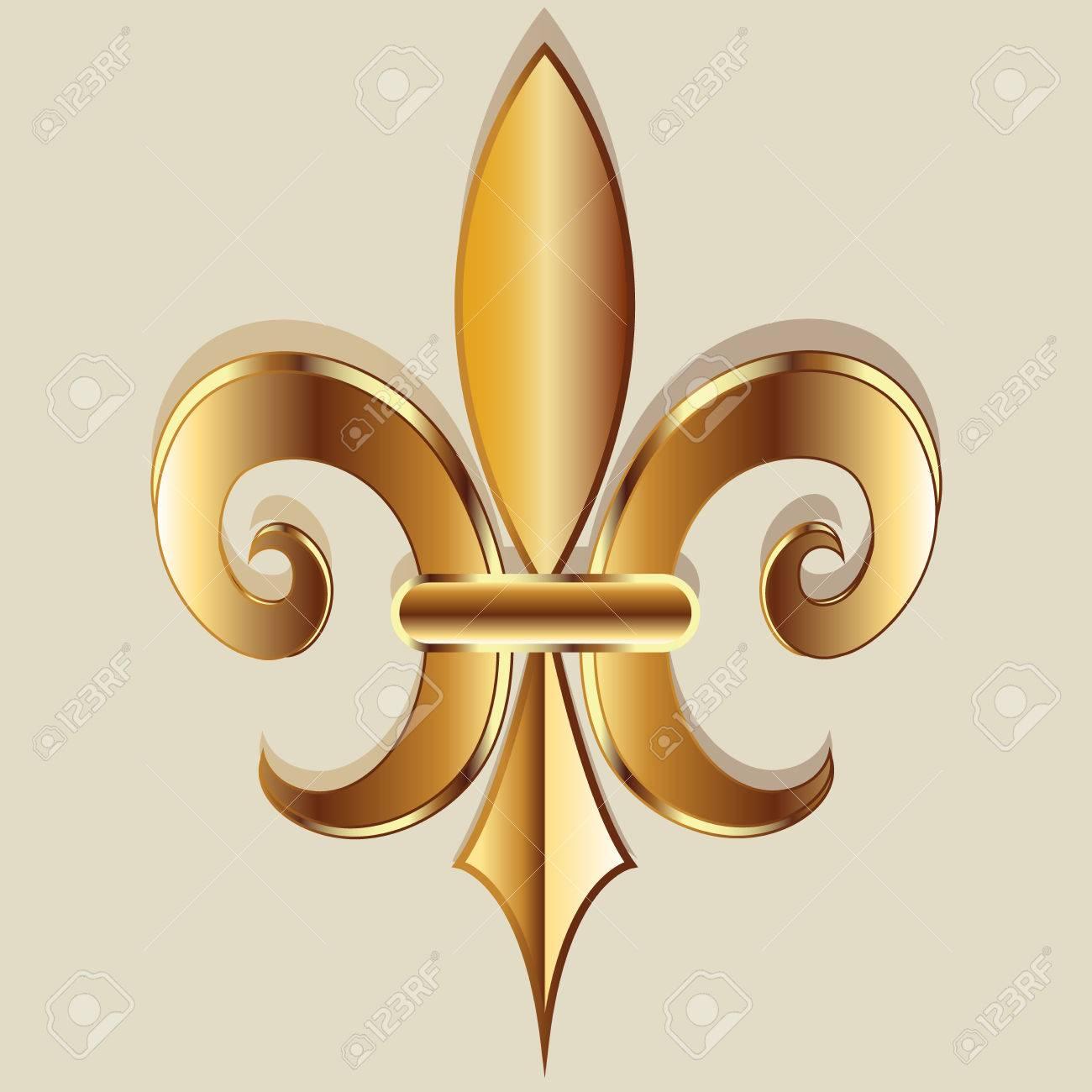 Gold Elegant Fleur De Lis Flower Symbol Logo Icon Vector Image Template Stock