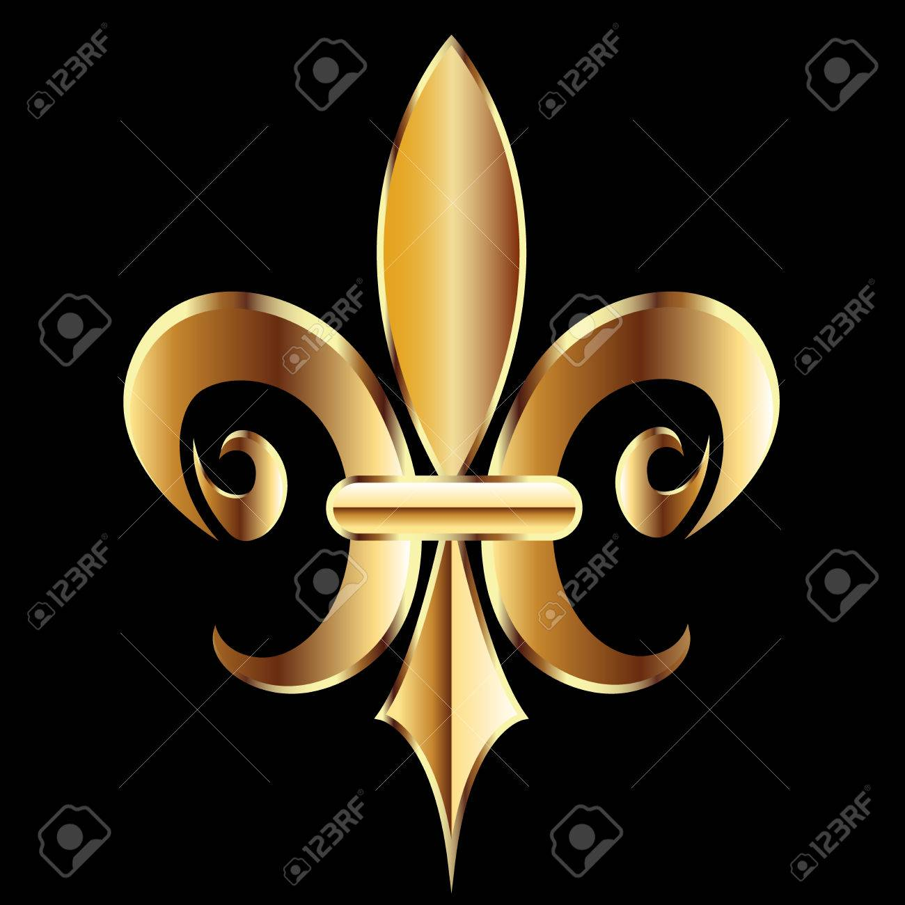 Gold Fleur De Lis Flower New Orleans Symbol Logo Template Royalty