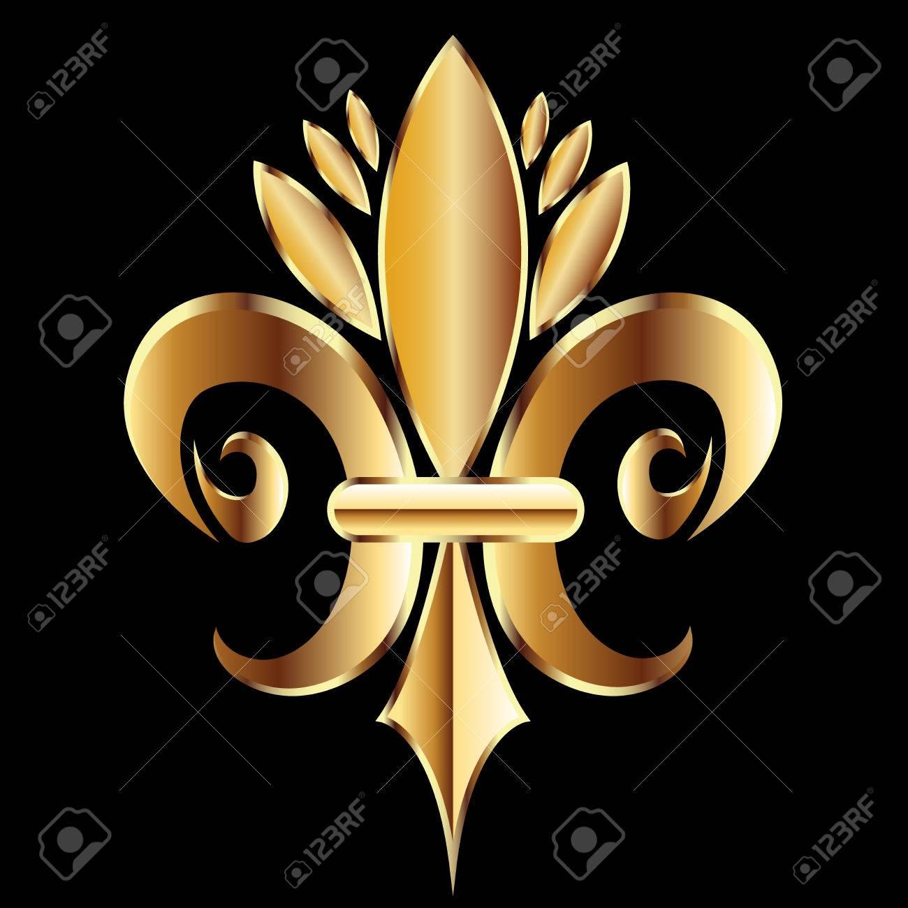gold fleur de lis flower new orleans symbol logo icon vector