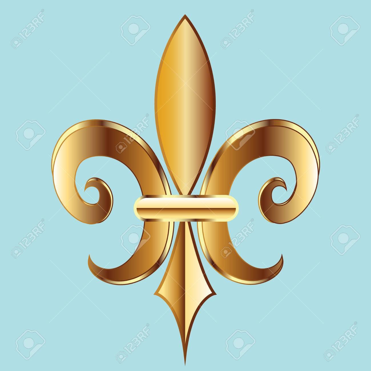 Gold fleur de lis new orleans golden symbol flower logo icon new orleans golden symbol flower logo icon vector image template stock buycottarizona Choice Image