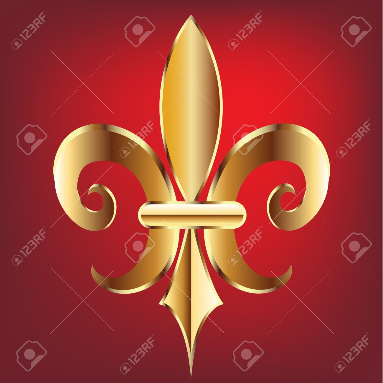 fleur de lis new orleans gold symbol flower logo template royalty