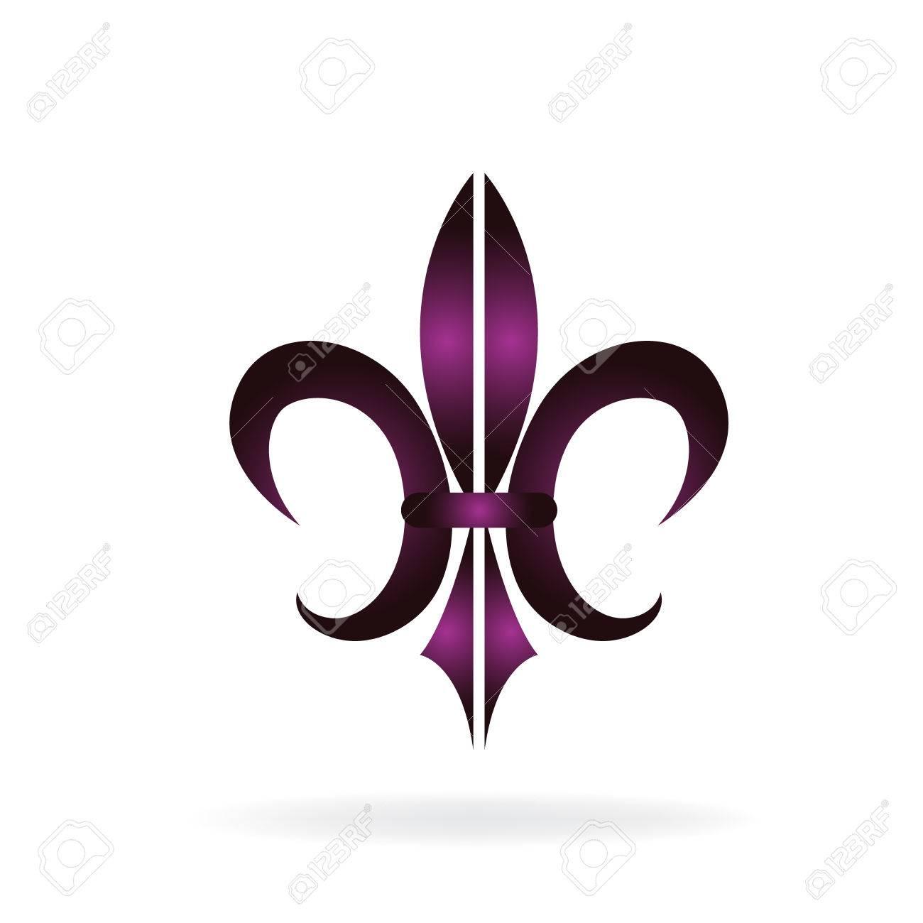 Fleur De Lis New Orleans Symbol Flower Logo Icon Vector Image Template Stock