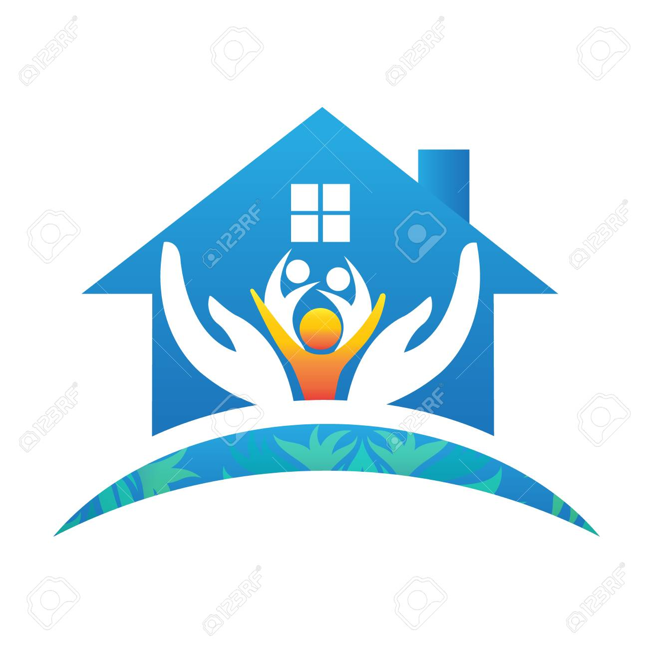family house people logo vector image royalty free cliparts vectors