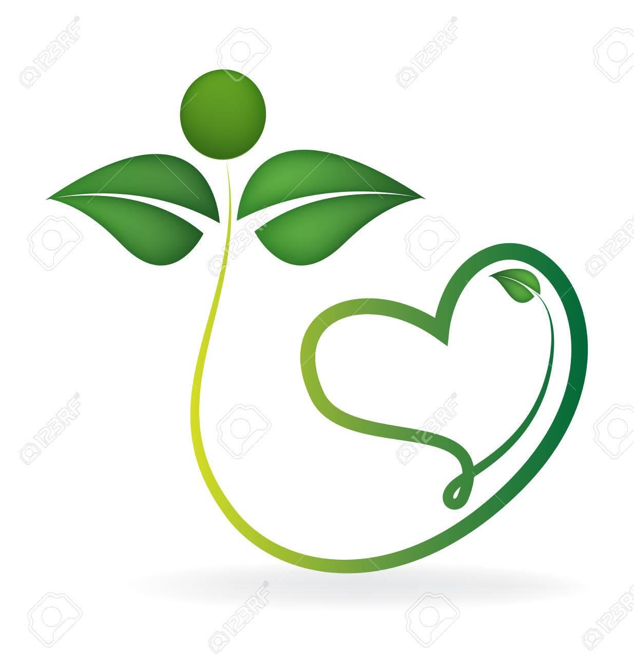 Gesunde Grüne Blätter Mit Herzform Symbol Vektor Logo Vorlage