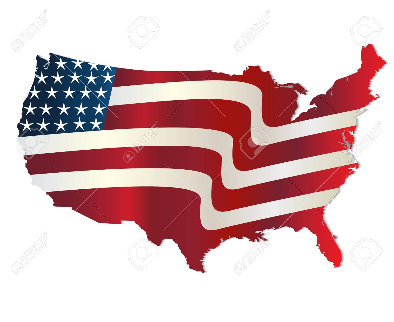 us flag map wavy vector design royalty free cliparts vectors and rh 123rf com vector us flag stars vector us flag design
