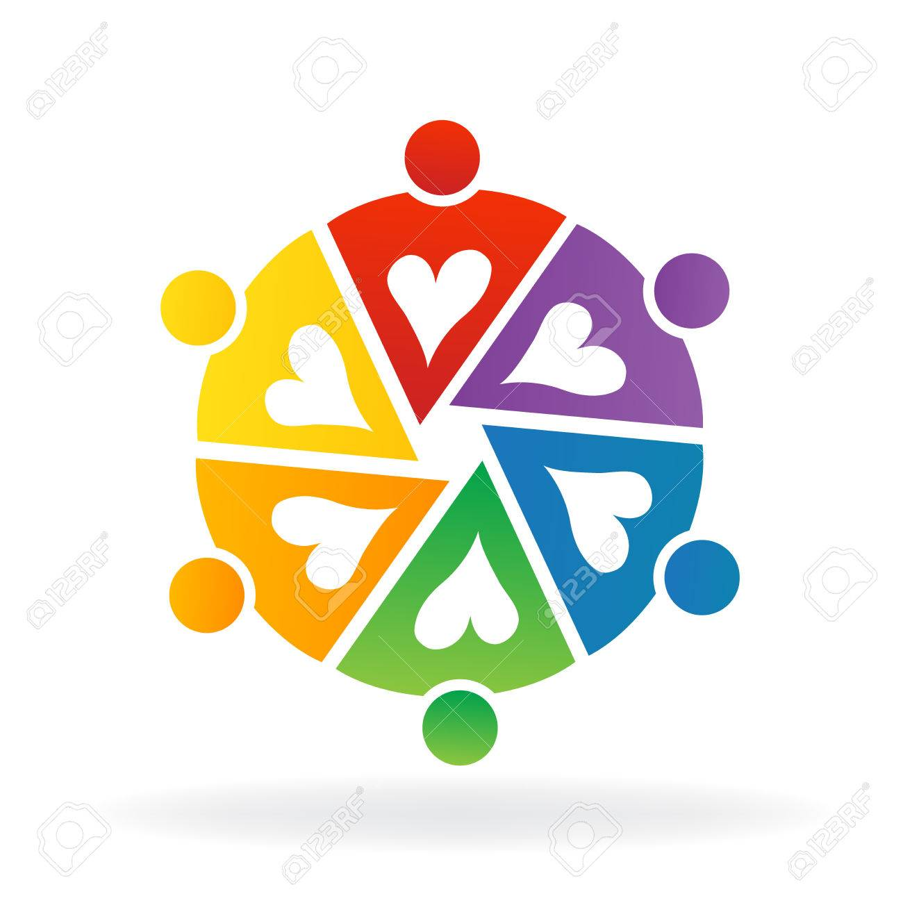 Logo Teamwork Colorful People Working Together With Love Royalty