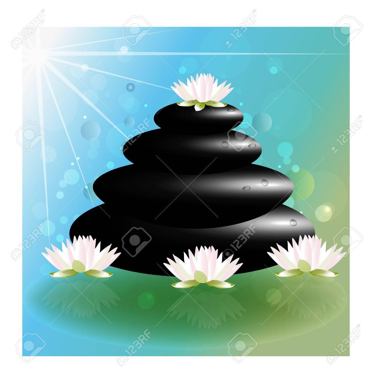 Spa Massage Lotus Flowers Zen Stones Vector Background Royalty Free