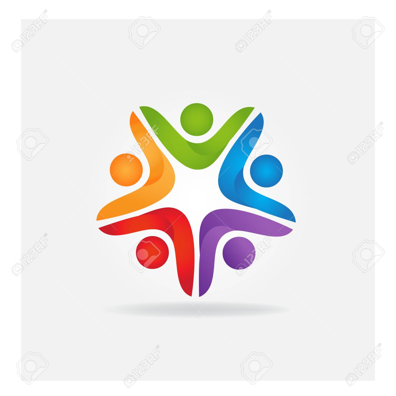 teamwork leader business people logo vector icon identity card