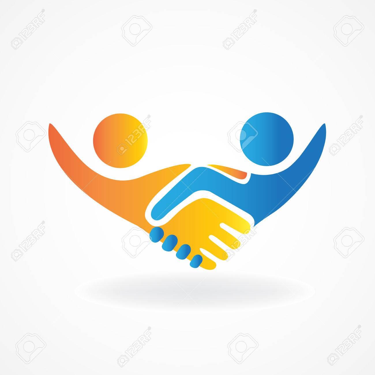 Handshake people in business vector icon - 80225347