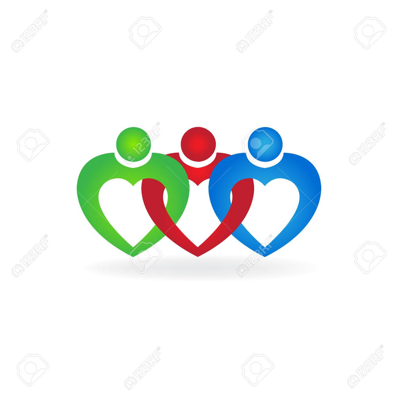 Coeur Amour Travail Dequipe Unite Personnes Carte De Visite Icone