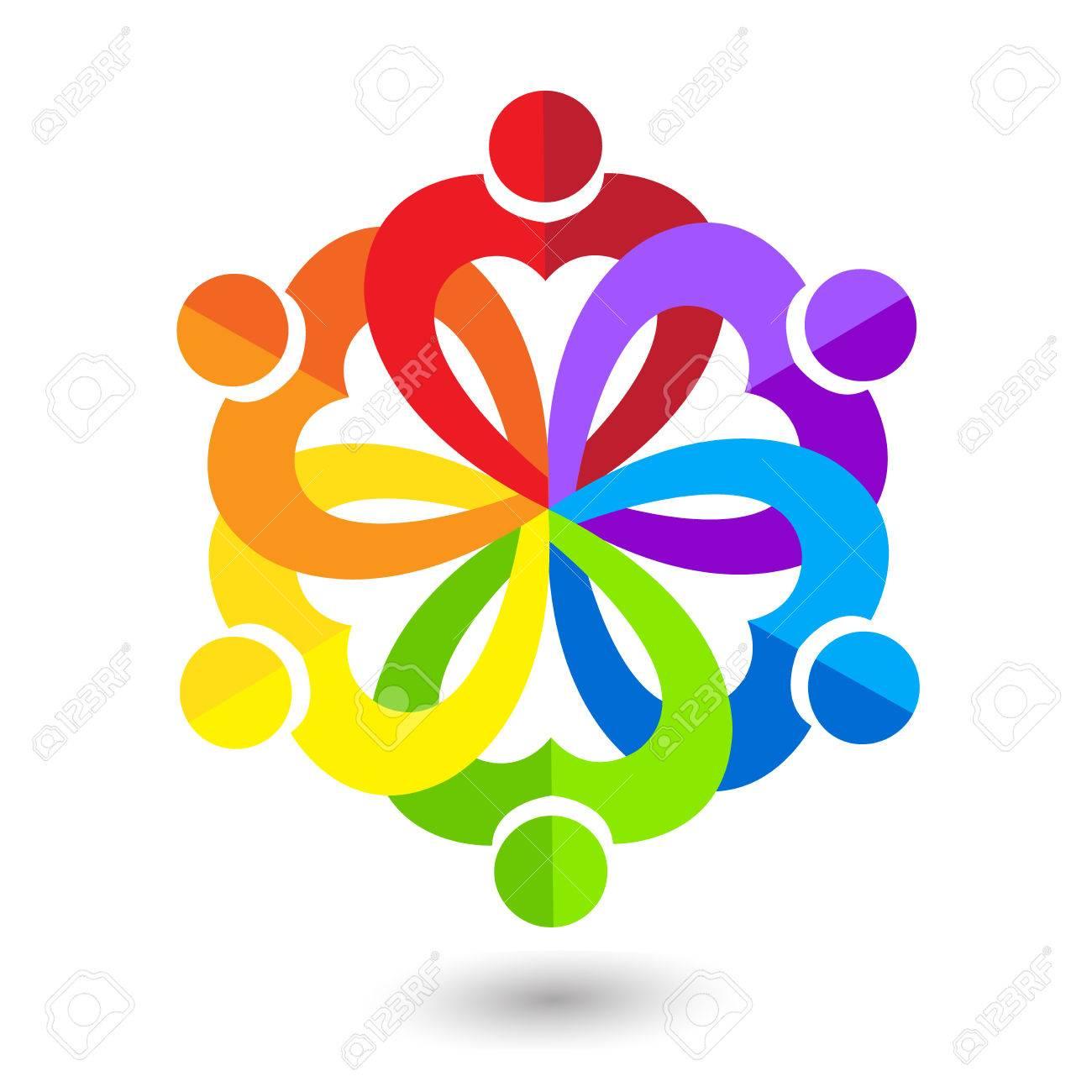 Coeur Amour Travail Dquipe Peuple Unis Icne Carte De Visite Logo