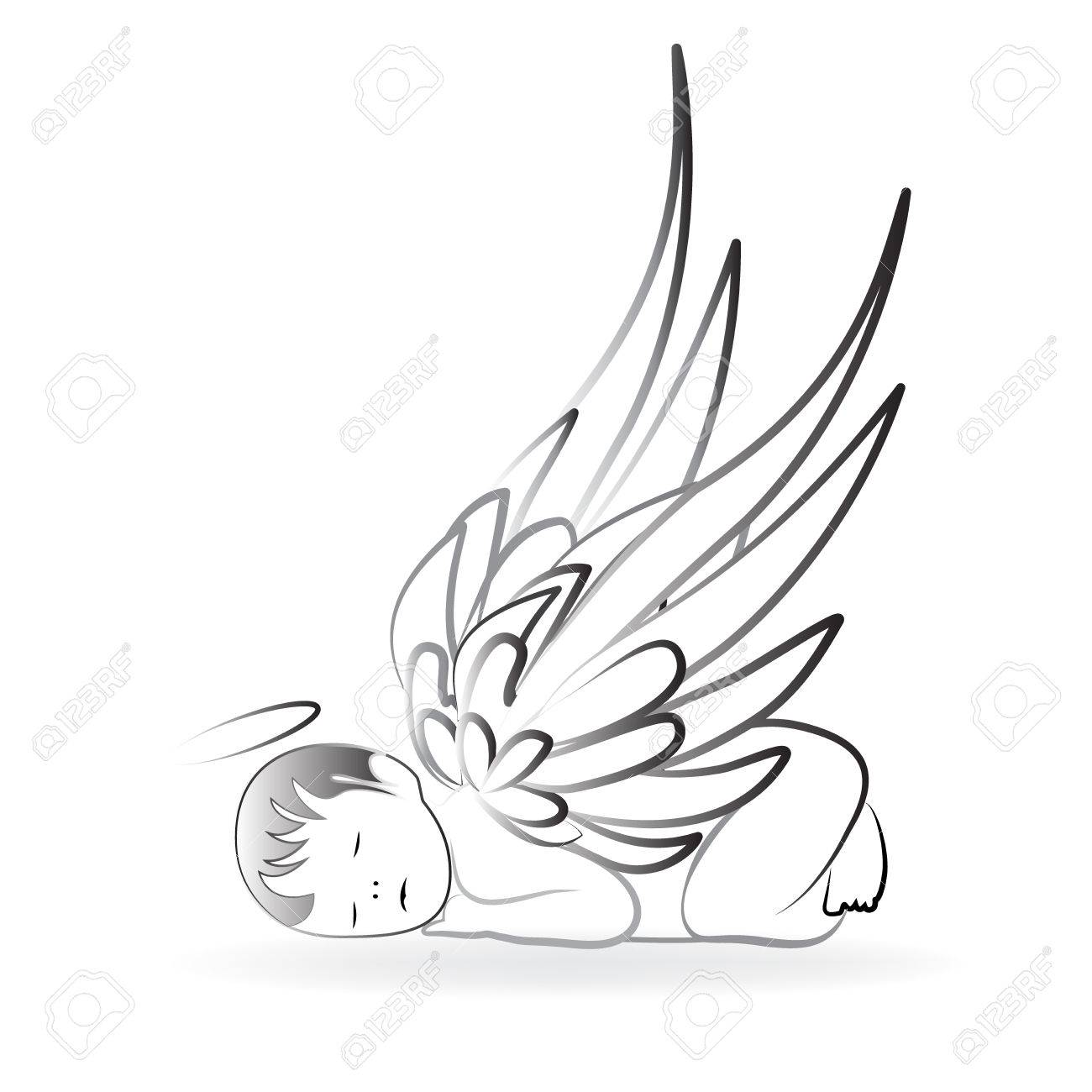 Baby Angel Sleeping Logo Art Vector