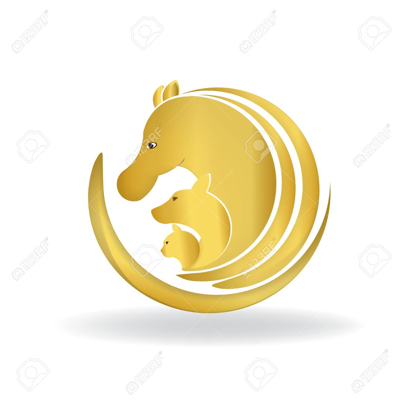 Horse Dog And Cat In Gold Color Logo Design Vector Image