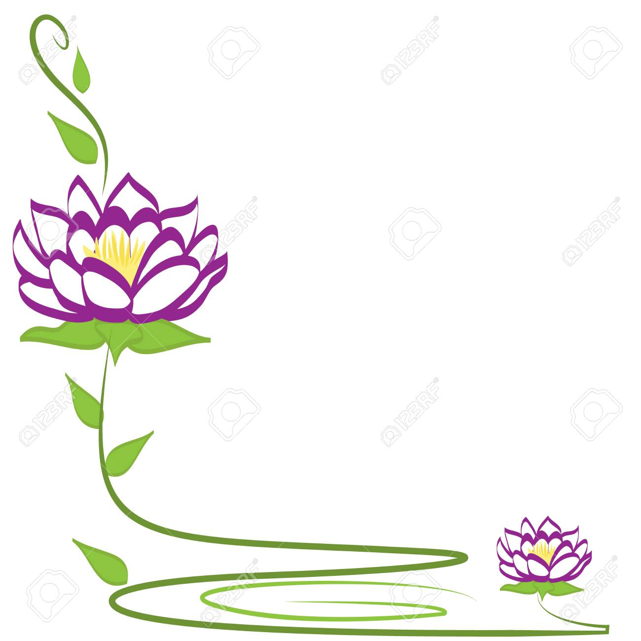 Lotus Flower Corner Frame With Copy Space Icon Logo Design Template