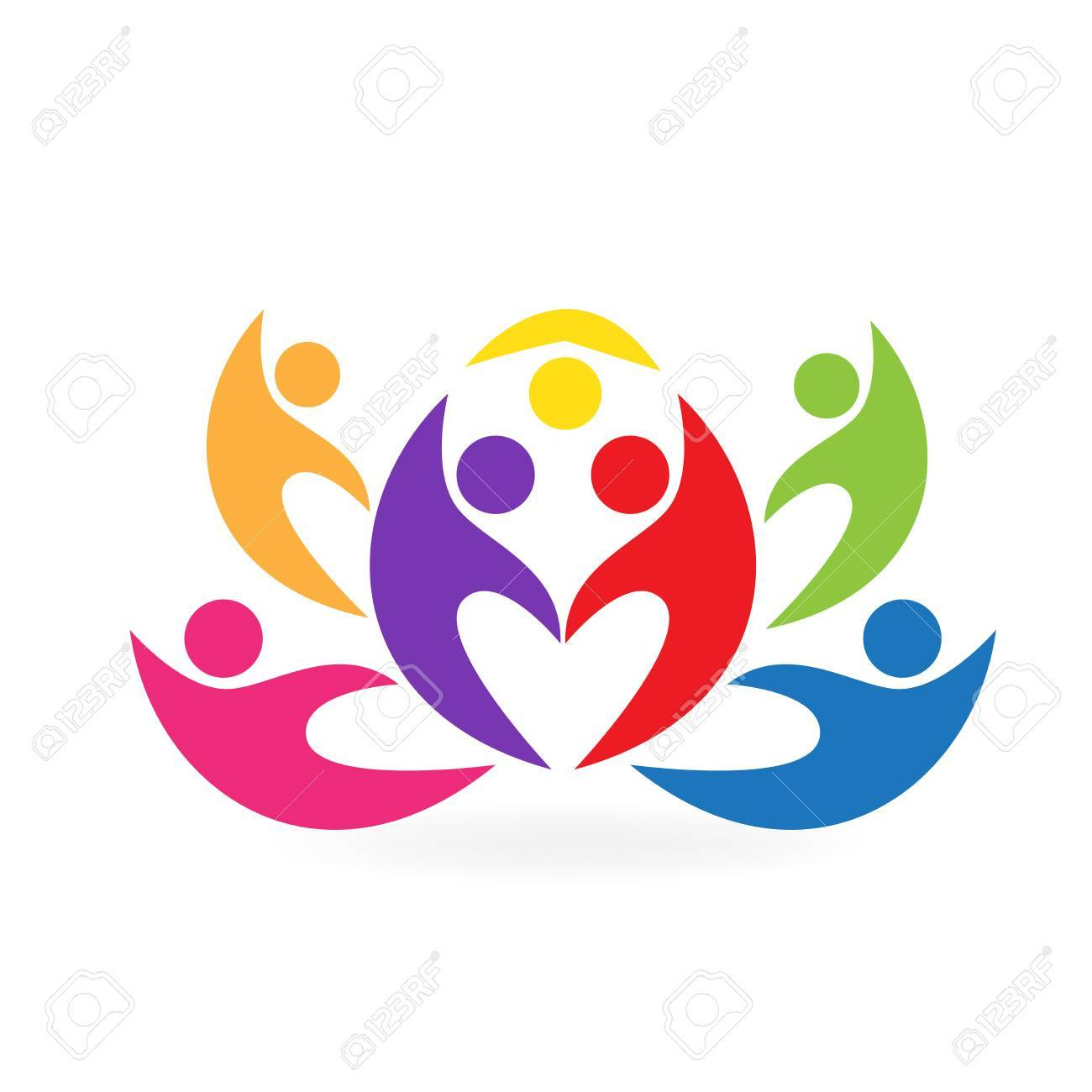 Lotus Flower Teamwork People Icon Vector Image Royalty Free Cliparts