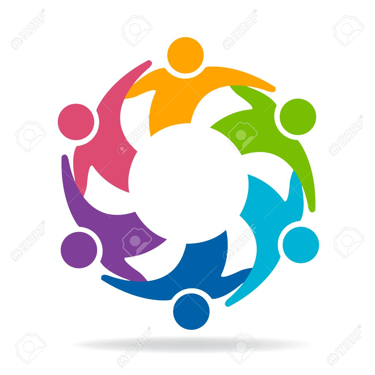 Teamwork friendship unity business colorful people icon logo vector - 89941232