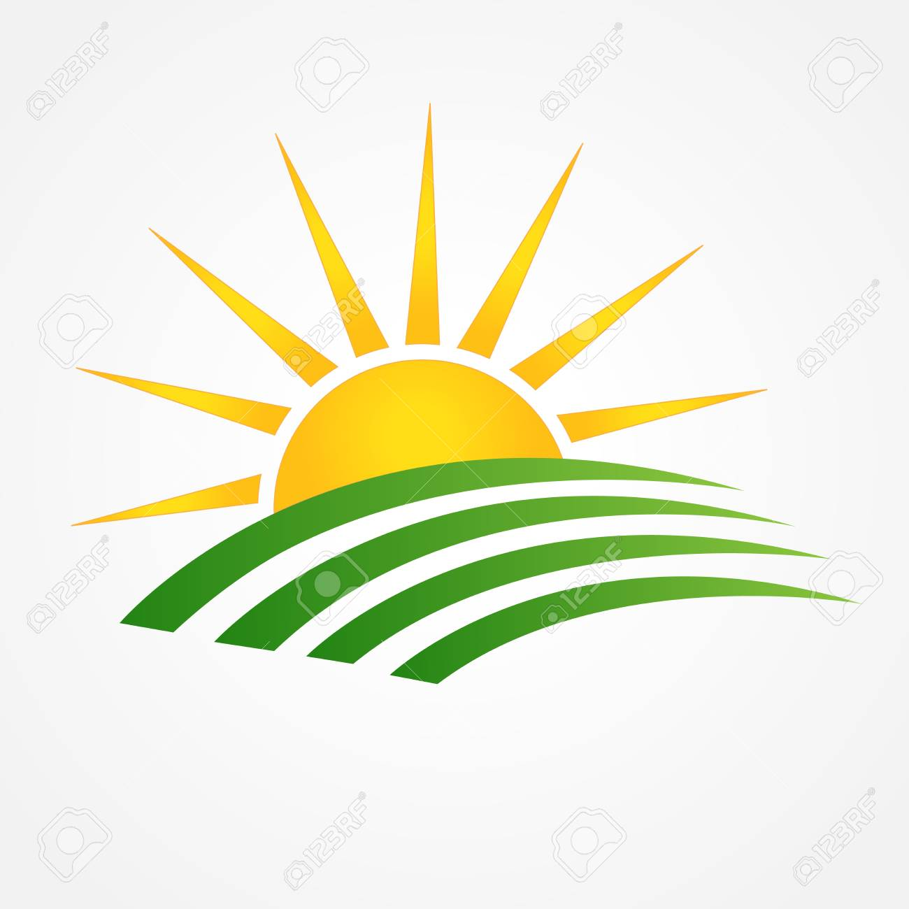 sun and green agriculture cultives swooshes line art icon logo rh 123rf com free vector logos download free vector sun logos