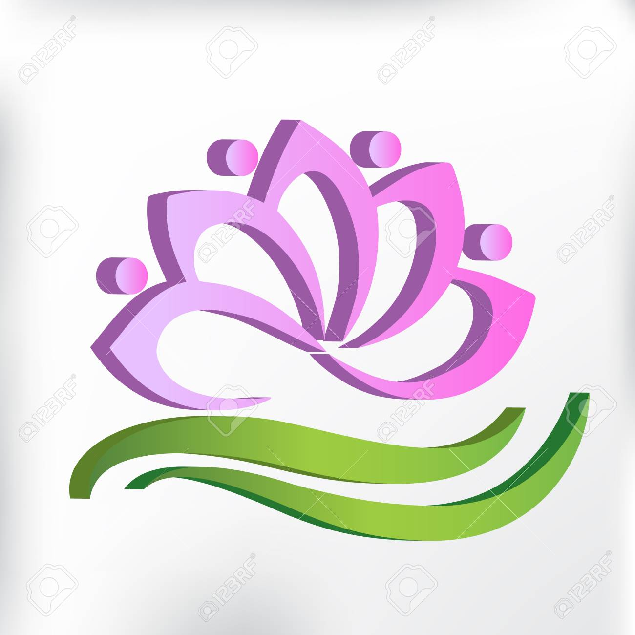 Spa And Massage Lotus Flower Symbol Id Card Royalty Free Cliparts