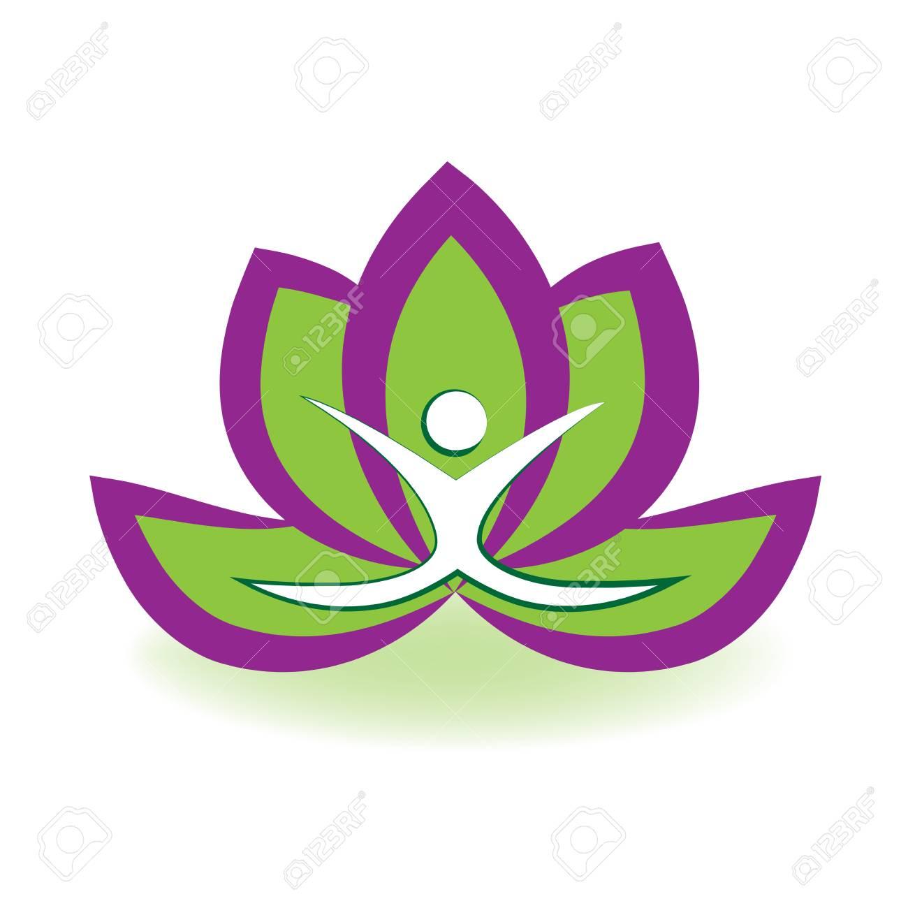 yoga man and lotus flower logo vector image royalty free cliparts rh 123rf com