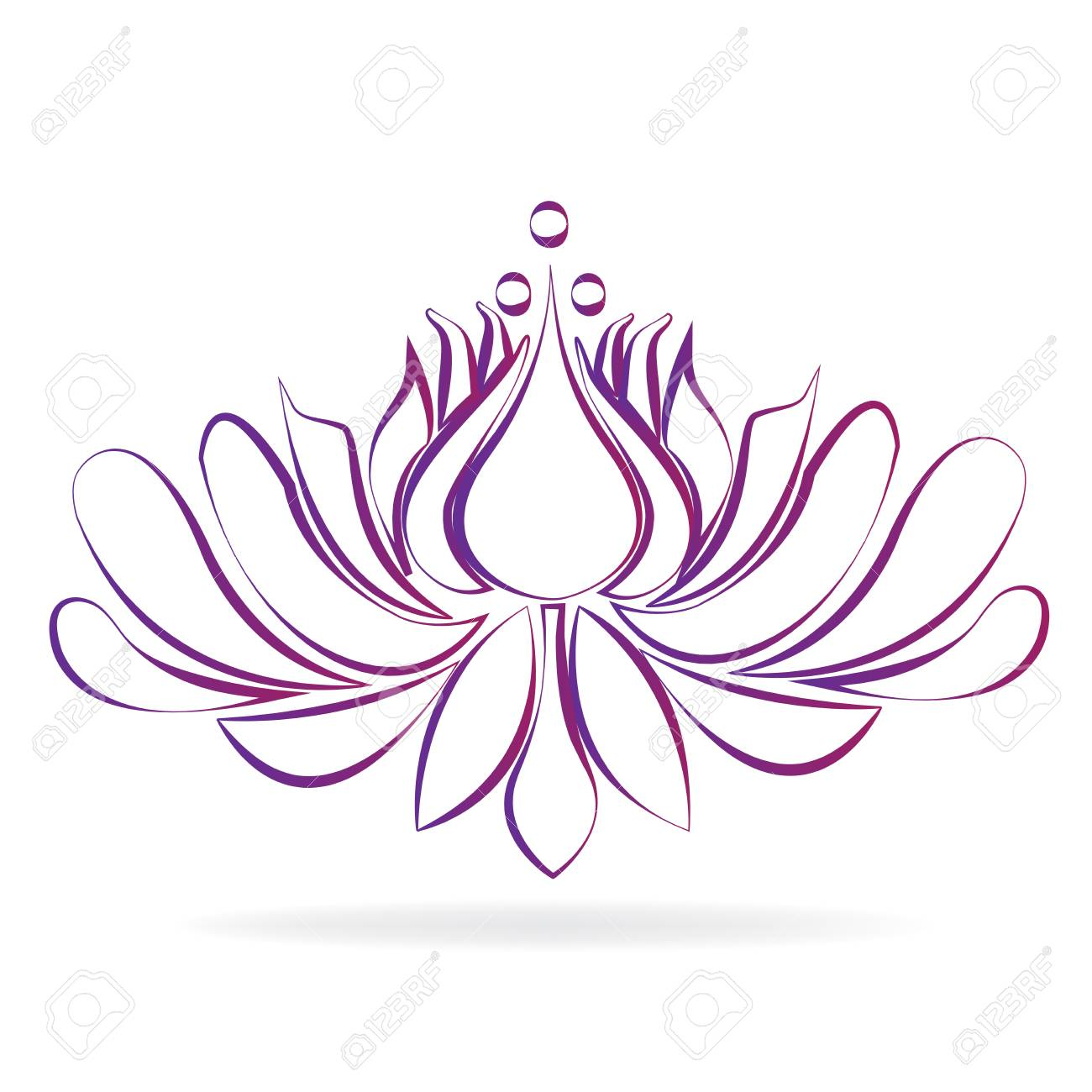 Beautiful Purple Blossom Lotus Flower Stylized Graphic Design