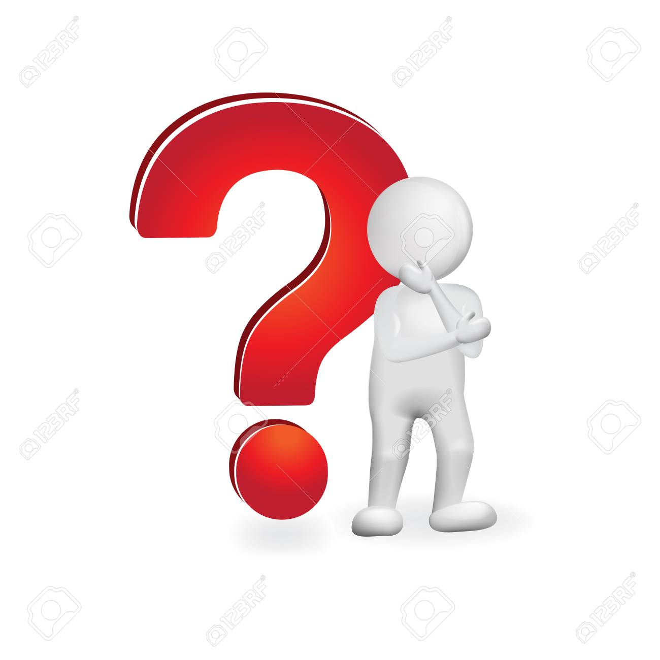 Question mark. Thought man - undecided - 92096551