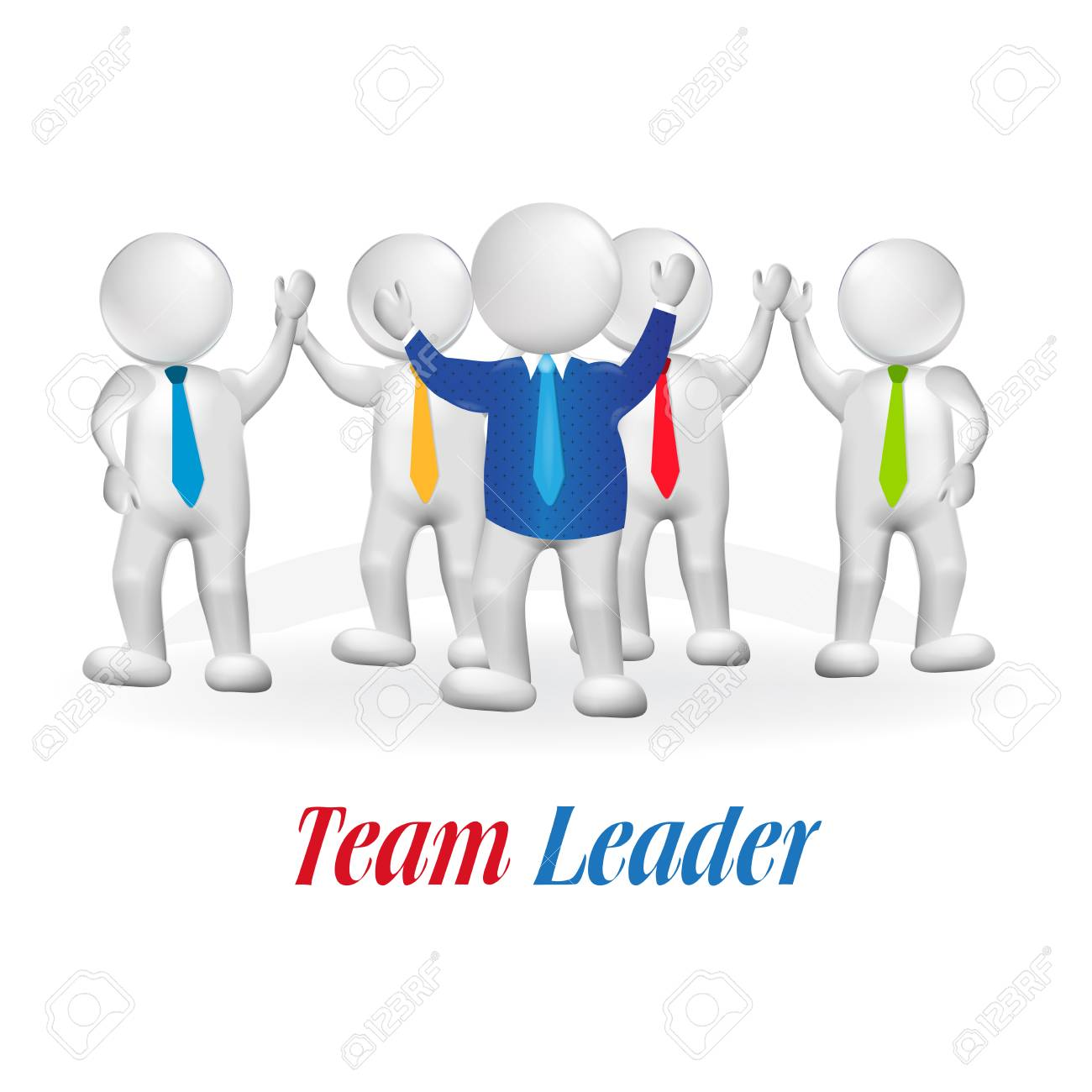 3d small person team leader royalty free cliparts vectors and