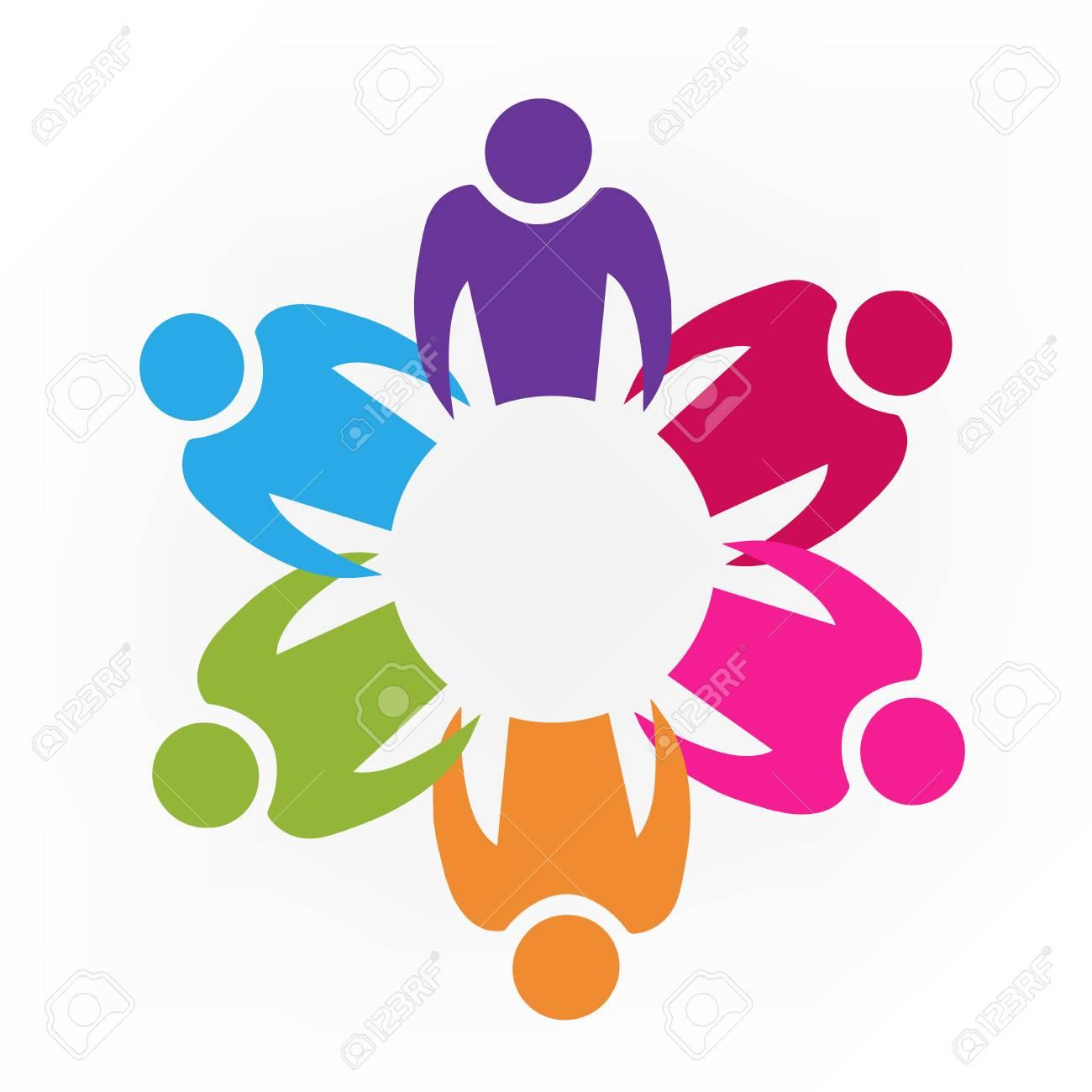 Teamwork unity people id cards logo icon - 97686456