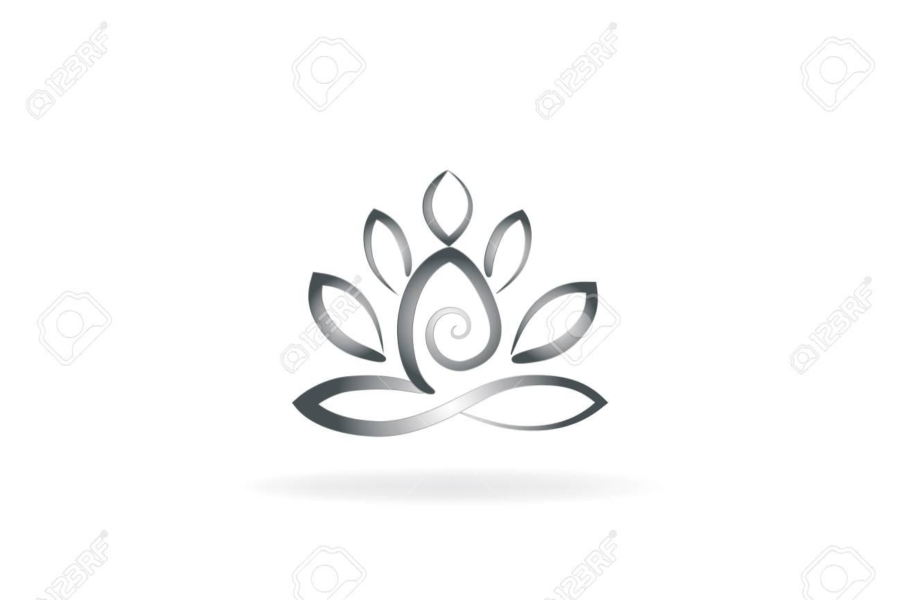 Lotus Flower Yoga Man Logo Symbol Image Royalty Free Cliparts