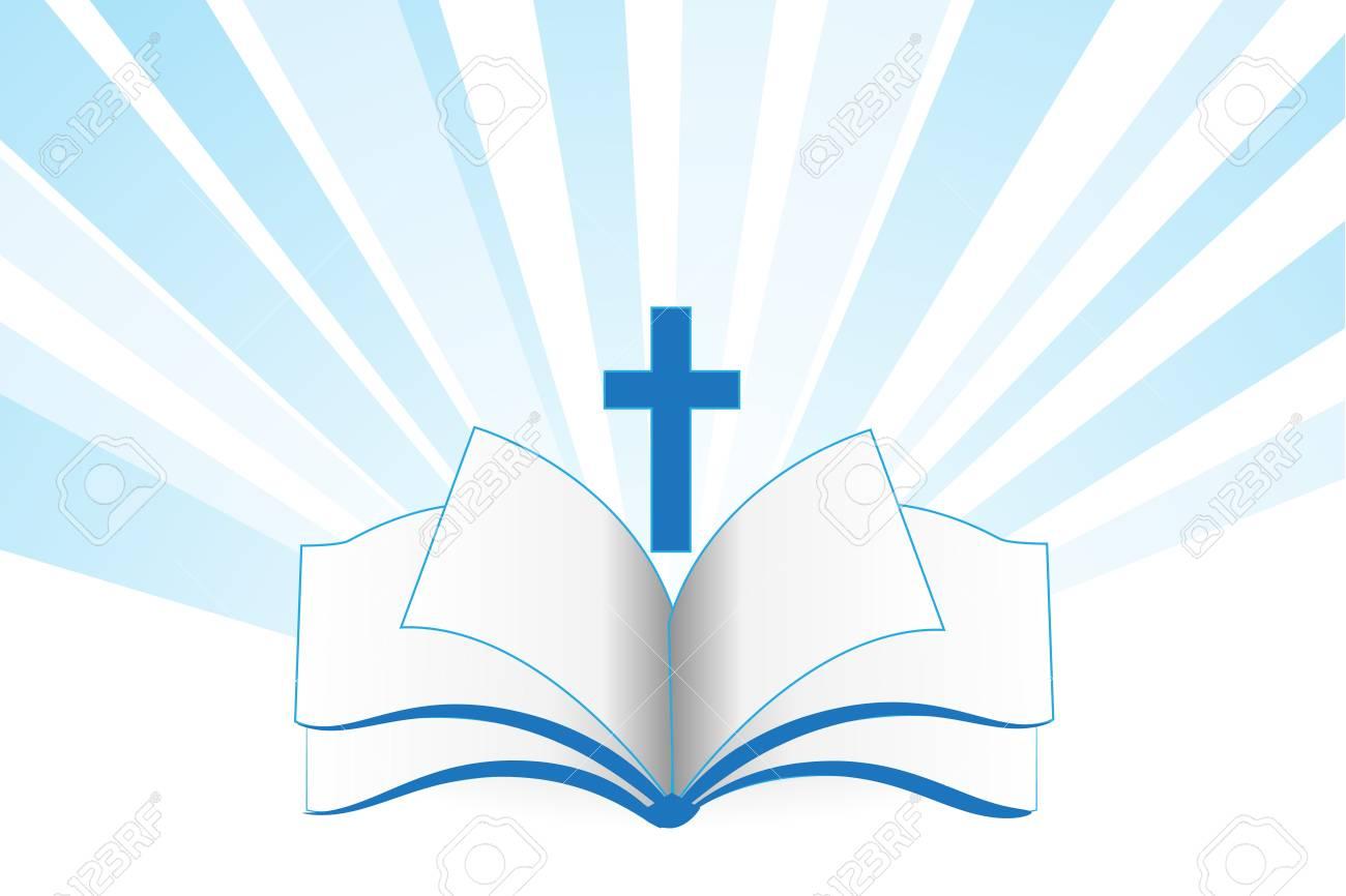 Book bible cross religion symbol vector template - 102243202