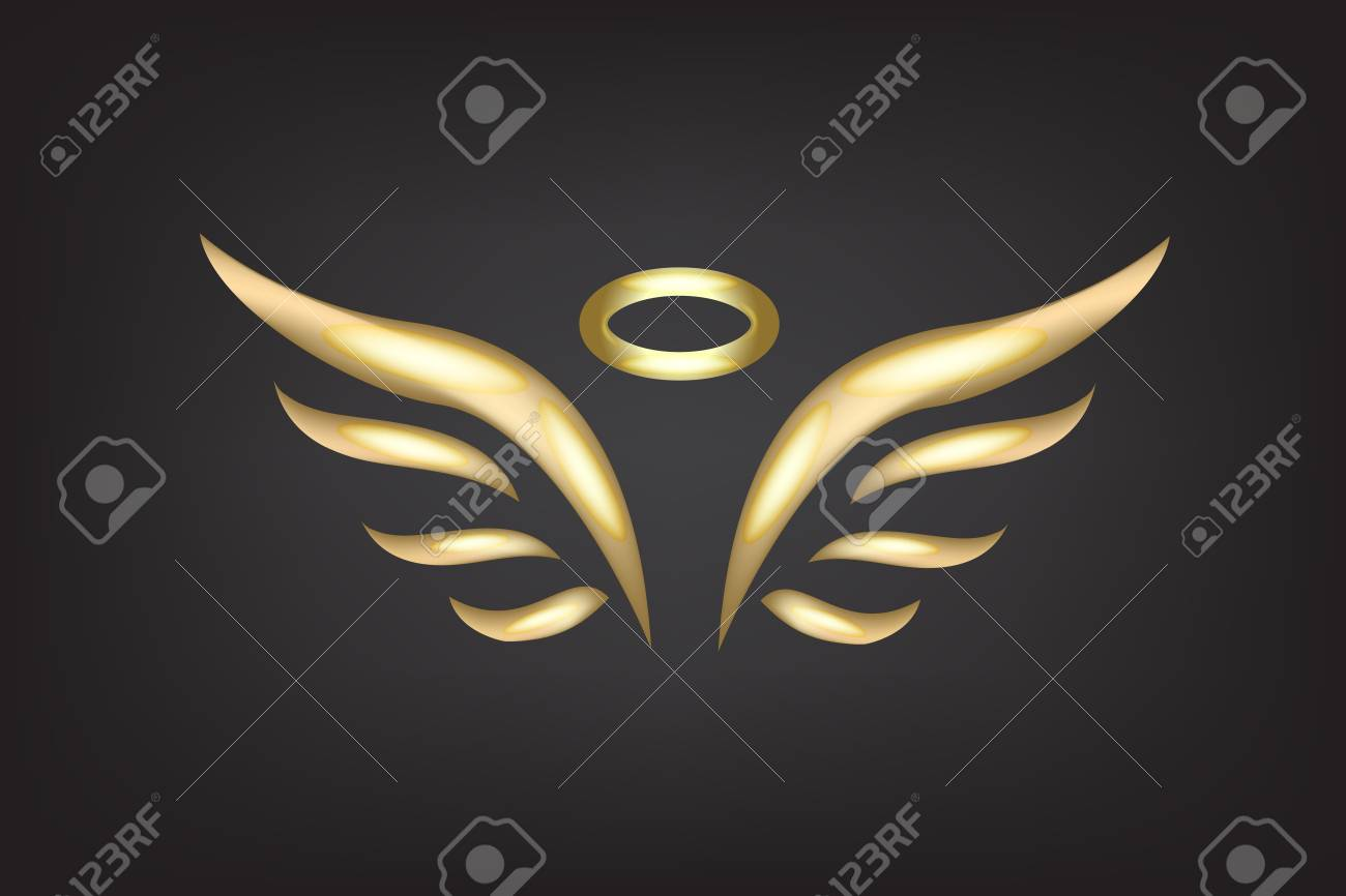 gold sketch of angel wings vector template royalty free cliparts