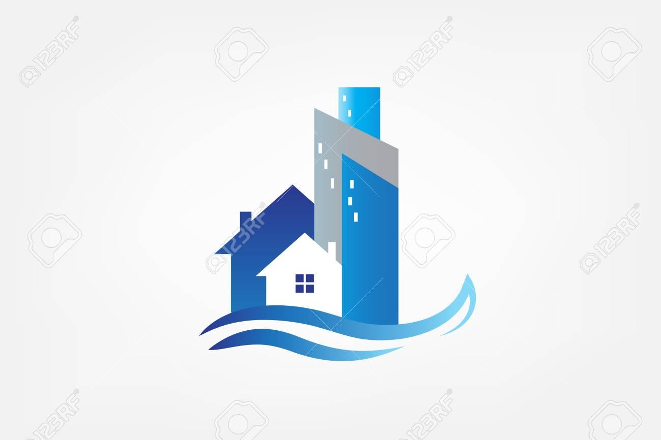 Logo modern house buildings real estate card - 106910736