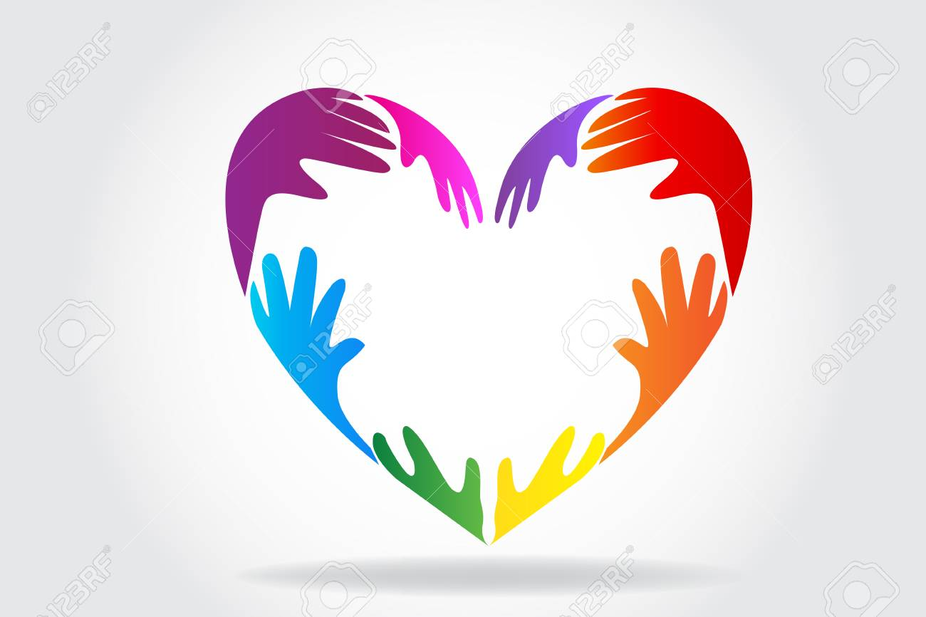 Hands making a colorful heart logo vector - 110336508