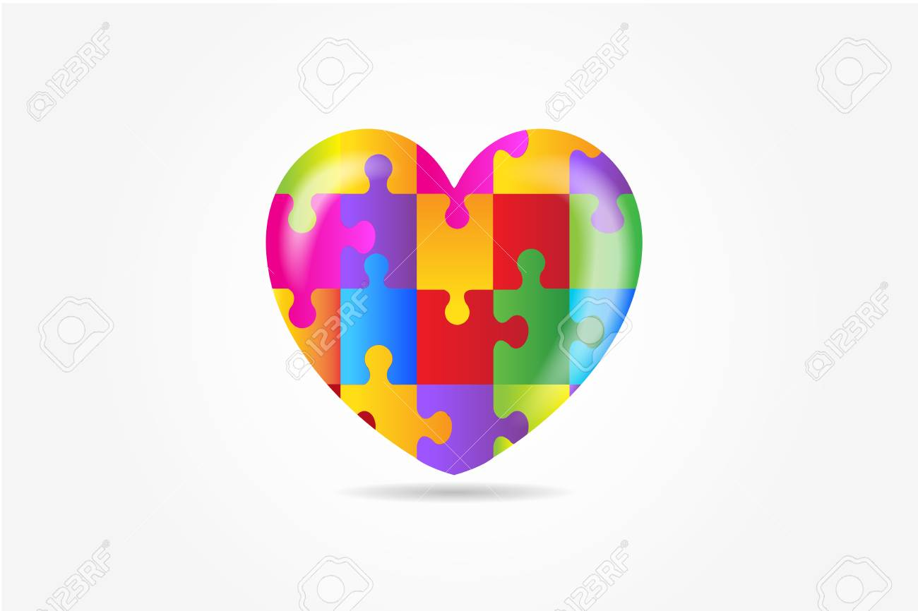 Heart puzzle awareness vector image - 116783687