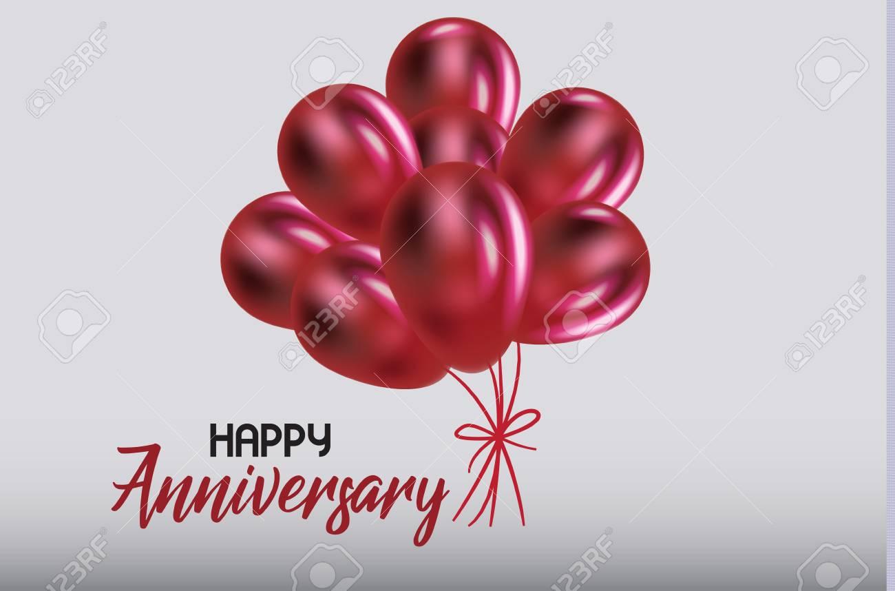 Happy Anniversary Birthday With Balloons Invitation Card Design