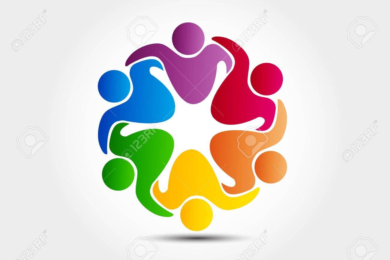 Logo teamwork unity business embraced friendship partners people colorful icon logotype vector web image design - 144487177