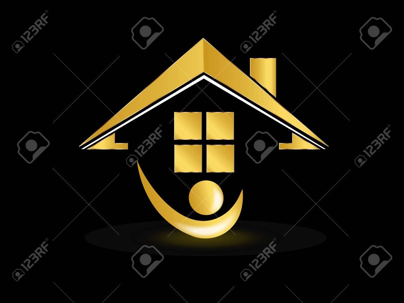 Real estate gold house people figure realtor logo icon vector image design template background illustration - 157430553