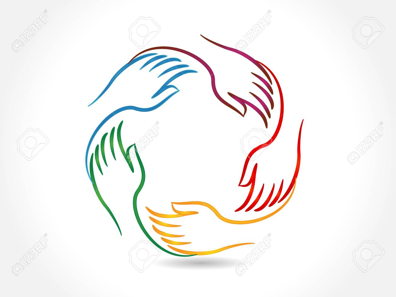 Logo handshake teamwork business five people voluntary collaboration charity concepts vector icon image design - 157577432
